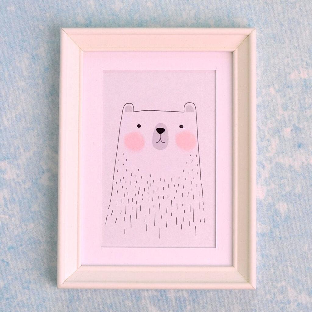 falikép keretben maci